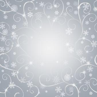 Abstrakter wintergrauhintergrund mit silbernem orientalischem muster, weißen schneeflocken und platz für text. konzept frohes neues jahr und frohe weihnachten.