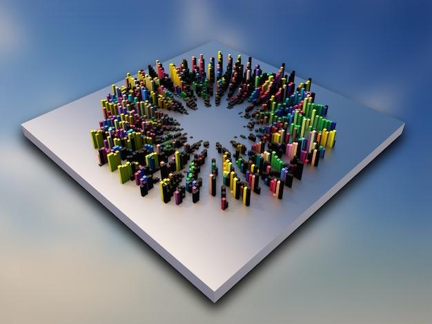 Abstraktes 3d-design mit bunten extrudierenden würfeln