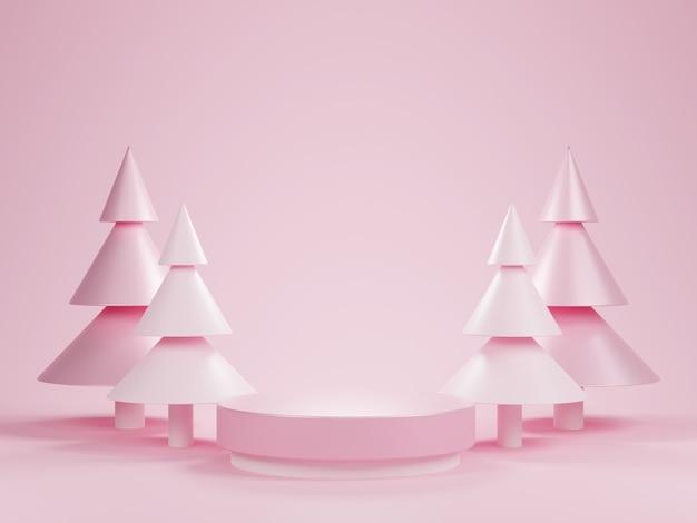 Abstraktes 3d rosa zylindersockelpodest mit weihnachtsbaum