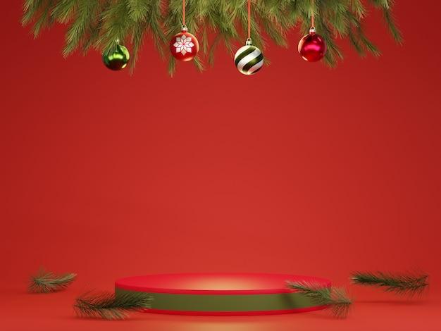 Abstraktes 3d rotes grünes geometrisches kreissockelpodest mit weihnachtskugeln und baumblättern