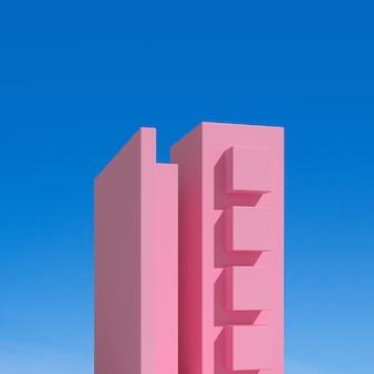 Abstraktes architekturgebäude auf blauem hintergrund.