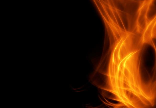Abstraktes bild des feuers, flamme auf der rechten seite des bildes, auf einem schwarzen hintergrund.