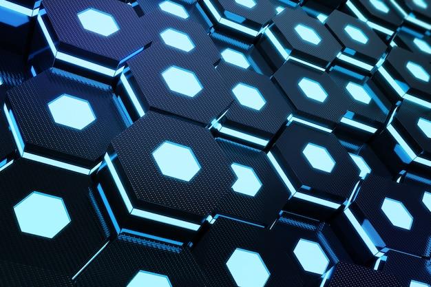 Abstraktes blau des futuristischen oberflächensechseckmusters mit lichtstrahlen, 3d-wiedergabe