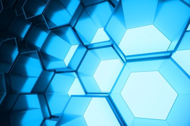 Abstraktes blau des futuristischen oberflächensechseckmusters, sechseckige wabe mit lichtstrahlen, 3d-wiedergabe