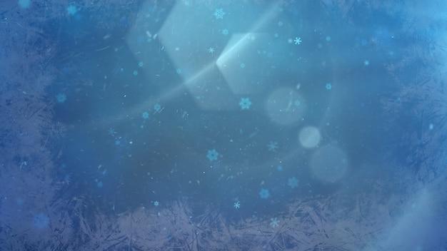 Abstraktes blaues bokeh und partikel fallen. frohes neues jahr und frohe weihnachten glänzender hintergrund. luxuriöse und elegante 3d-darstellung im dynamischen stil für den winterurlaub