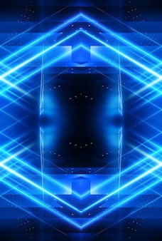 Abstraktes blaues dunkles neon
