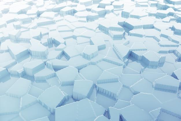 Abstraktes blaues eis mit extremem nahaufnahmehintergrund der reflexionen. 3d-rendering.