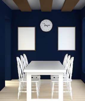 Abstraktes blaues innenesszimmer 3d mit weißer tabelle und stühlen.