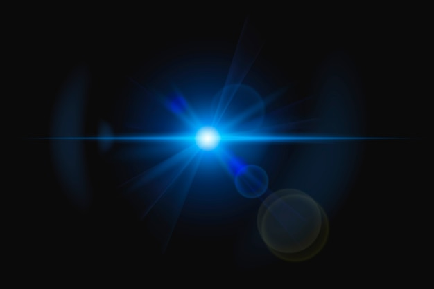 Abstraktes blaues lens flare mit ringgeist-designelement