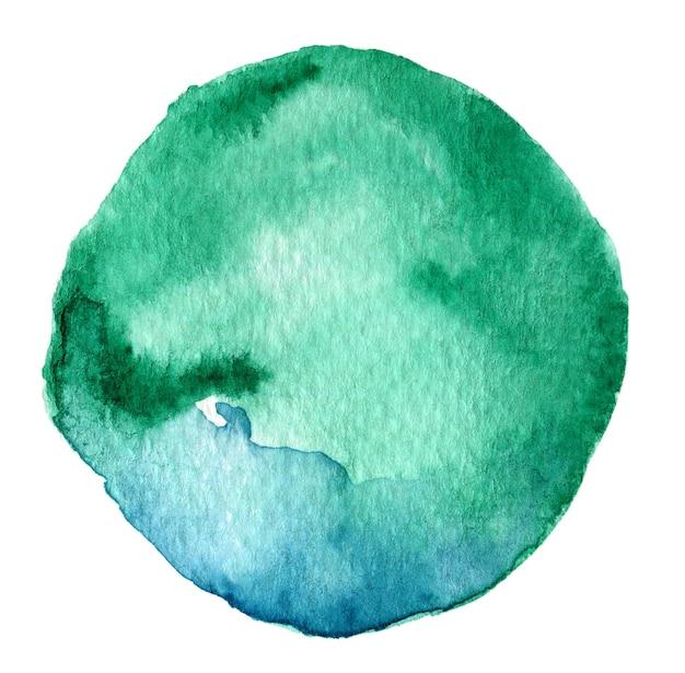 Abstraktes blaues und grünes aquarell rundes spritzen auf weißem hintergrund