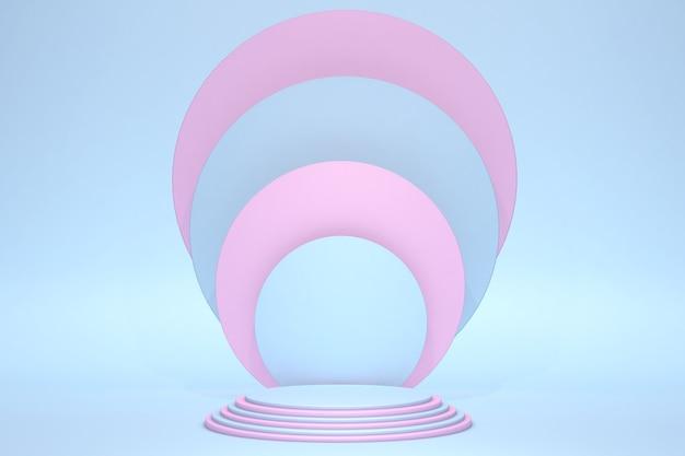 Abstraktes blaues und rosa zylinderpodestpodest helles pastell leeres zimmer 3d-rendering geometrische form produktanzeigepräsentation pastellblaues rosa zimmer minimale wandszene