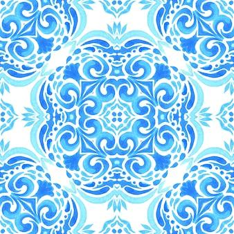 Abstraktes blaues und weißes handgezeichnetes dekoratives element der fliese sinter