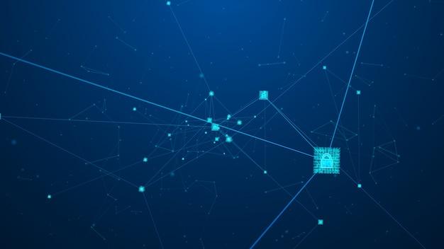 Abstraktes blockchain-technologiekonzept. isometrische digitale blockverbindung.