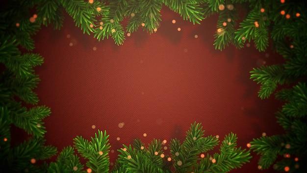 Abstraktes bokeh der nahaufnahme und grüne baumaste des weihnachtsgrüns auf rotem hintergrund. luxuriöse und elegante 3d-darstellung im dynamischen stil für den winterurlaub