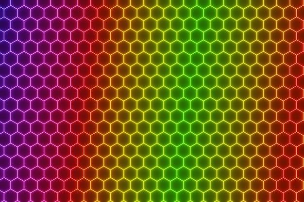 Abstraktes buntes leuchtendes neon-elektrisches sechseckhintergrund-3d-rendering