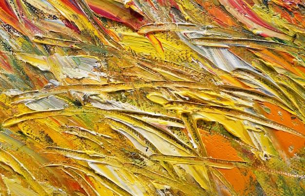 Abstraktes buntes ölgemälde auf leinwand ölfarbenbeschaffenheit mit pinsel- und spachtelstrichen