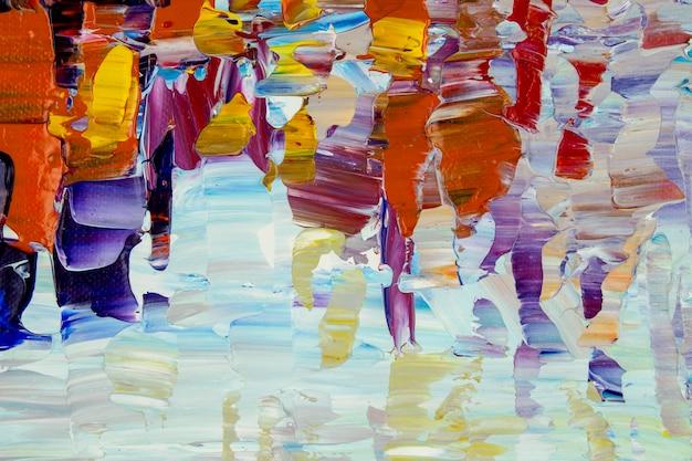 Abstraktes buntes ölgemälde auf leinwandbeschaffenheit hand gezeichneter pinselstrich.