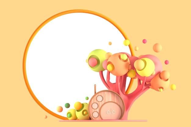 Abstraktes cartoon-märchen winziges gemütliches haus in den pastellfarbenen herbstfarben vor dem hintergrund der fantastischen stilisierten pflanzen, der bäume und der gräser mit einem rahmen für eine kopie des raumes wird isoliert. 3d-illustration