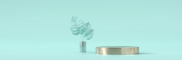 Abstraktes cyan-bühnenplattform-podium und pflanzen für werbeproduktanzeige, 3d-darstellung.