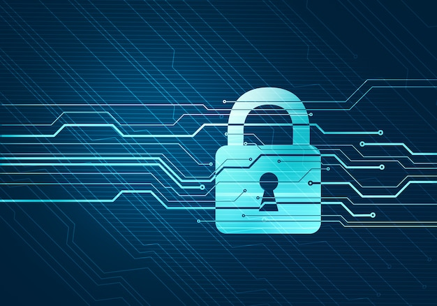 Abstraktes digitales konzept der internet-datensicherheit und -sicherheit mit verriegelungs-mikrochip