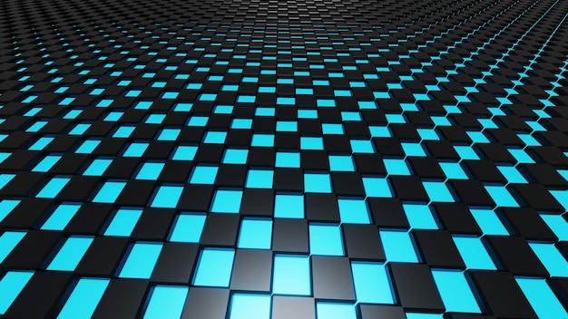 Abstraktes dunkelschwarzes metallisches rechteck mit blauem licht, 3d-darstellung.