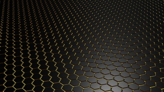 Abstraktes dunkelschwarzes metallisches sechseck mit helloranger 3d-darstellung.