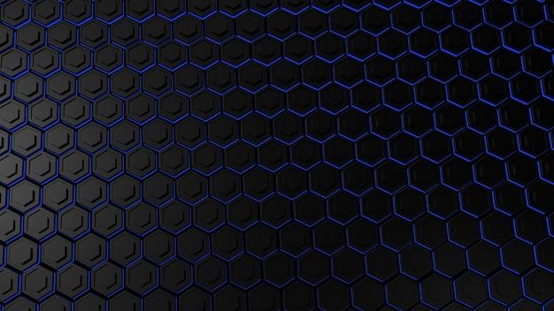 Abstraktes dunkelschwarzes metallisches sechseck mit leuchtend blauem licht, 3d-darstellung.