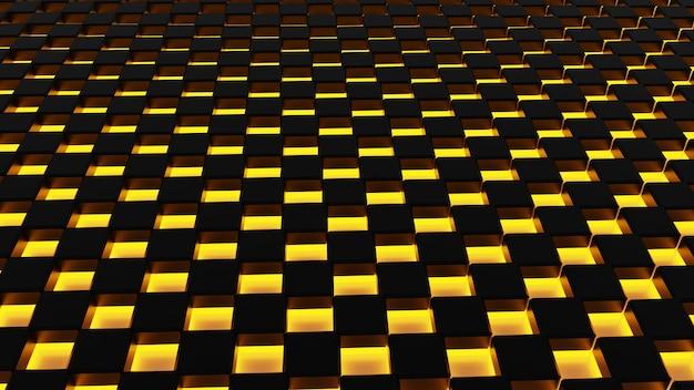 Abstraktes dunkelschwarzes metallisches viereck mit fluoreszierendem orangefarbenem licht, 3d-darstellung.