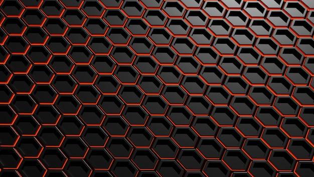 Abstraktes dunkles metallisches sechseck mit leuchtend rotem licht, 3d-darstellung.