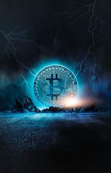 Abstraktes dunkles neon mit bitcoin, dynamischen linien, blitz