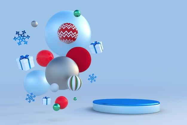 Abstraktes festliches 3d-podium mit weihnachtsschneeflocken und geschenken kreatives wintermodell für