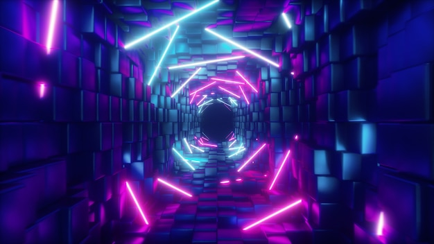 Abstraktes fliegen im futuristischen korridor