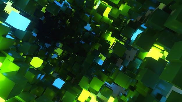Abstraktes fliegen im futuristischen korridorhintergrund, fluoreszierendes ultraviolettes licht, glühende bunte neonwürfel, geometrischer endloser tunnel, grünes blaues spektrum