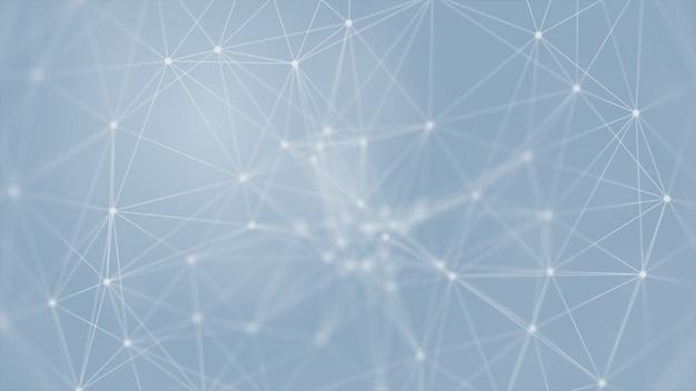 Abstraktes futuristisches 3d-rendering mit leuchtenden verbindungslinien auf blauem hintergrund, wissenschaft, geschäft, kommunikation, medizin, technologiekonzept. plexusstruktur. illustration
