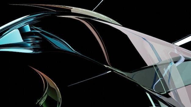 Abstraktes futuristisches bild von glas verdrillten mehrfarbigen kristallen
