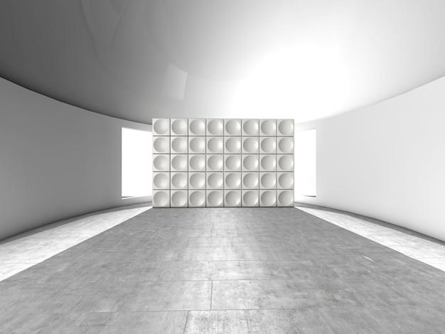 Abstraktes futuristisches inneninnen mit akustischer wand