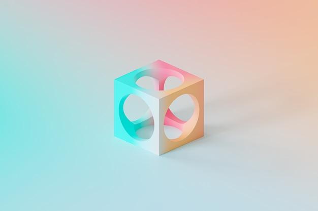Abstraktes futuristisches würfelobjekt auf farbverlaufshintergrund, minimales 3d-rendering