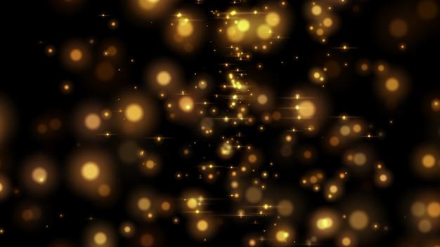 Abstraktes gelbes glühendes bokeh lokalisiert auf schwarzem hintergrund.