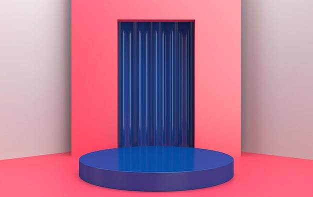 Abstraktes geometrisches formgruppen-set rosa studiohintergrund geometrisches rosa portal mit vorhangrundblau-sockel-3d-rendering