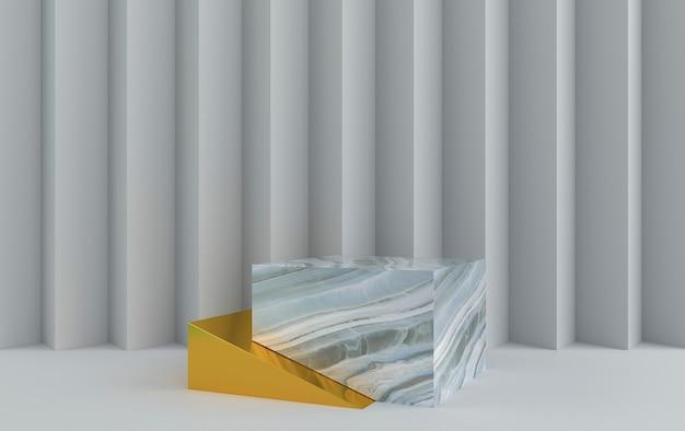 Abstraktes geometrisches formgruppenset, grauer hintergrund, goldene rampe, marmorsockel, 3d-darstellung, szene mit geometrischen formen, papier in form eines zickzacks