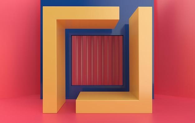 Abstraktes geometrisches formgruppenset, pastellstudiohintergrund, geometrisches portal, rechteckiger sockel, 3d-darstellung, szene mit geometrischen formen, minimalistische modeszene, einfaches sauberes design