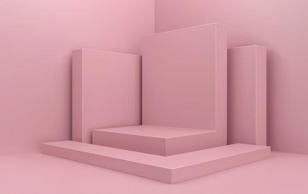 Abstraktes geometrisches formgruppenset, rosa studiohintergrund, rosa rechtecksockel, 3d-darstellung, szene mit geometrischen formen, minimalistische modeszene, einfaches sauberes design