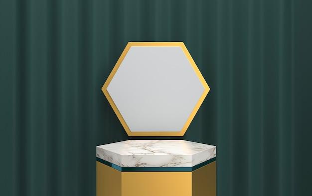Abstraktes geometrisches formgruppenset, vorhang auf dem hintergrund, tiefgrüner hintergrund, 3d-darstellung, szene mit geometrischen formen, minimalistische sechseckmarmorplattform, goldrahmen