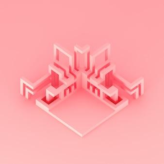 Abstraktes geometrisches modernes podium mit sich entwickelnder illustration der gefäße 3d
