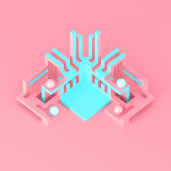 Abstraktes geometrisches modernes podium mit sich entwickelnder illustration der rohrstrukturen 3d