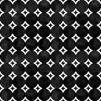Abstraktes geometrisches nahtloses muster. minimalistische schwarzweiß-aquarellgrafik mit einfachen formen und figuren. aquarell kreise geformte textur. druck für textilien, tapeten, verpackungen