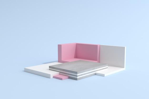Abstraktes geometrisches podium auf blauem hintergrund für produktpräsentation
