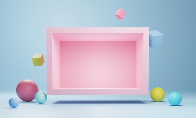Abstraktes geometrisches podium, leere minimalistische leere schaufensterschablone, moderne art-deco-ladenanzeige, pastellfarben. 3d-rendering.