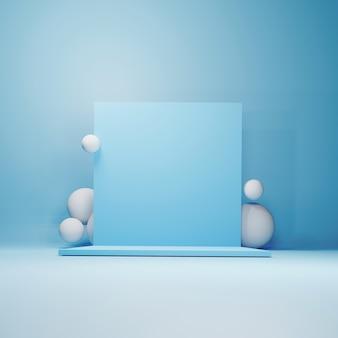 Abstraktes geometrisches podium, leere minimalistische leere schaufensterschablone, moderne art-deco-ladenanzeige, pastellfarben. 3d rendern.