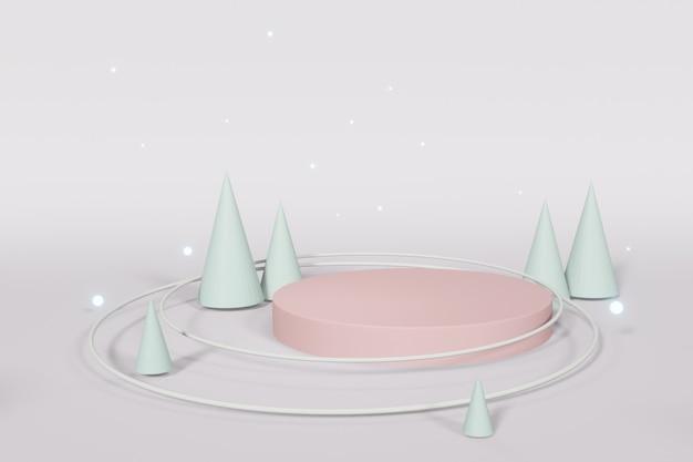 Abstraktes geometrisches podium mit geometrischen formen